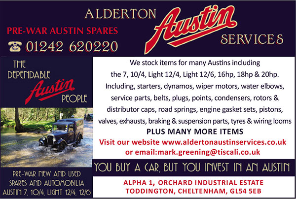 Alderton Austin Specialists - Classic range lubricants Vintage lighting & bulbs Rubber extrutions BSF nuts & bolts Classic filters Switches for lighting & brakes, Speedo cables, Brake linings, Sparking plugs, Contact sets