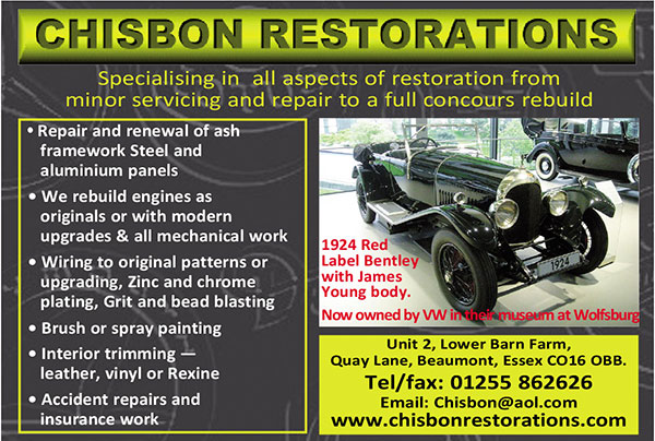 Chisbon Restorations - Repair and renewal of ash framework Repair or renewal of steel and aluminium panels Rebuilding engines as originals or with modern upgrades such as neoprene seals, valve seat inserts etc. All other me