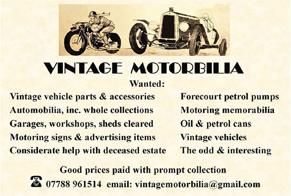 Vintage Motorbilia - Vehicle parts accessories, garage collections, signs, advertising, oil and petrol cans petrol pumps, automotive memorabilia