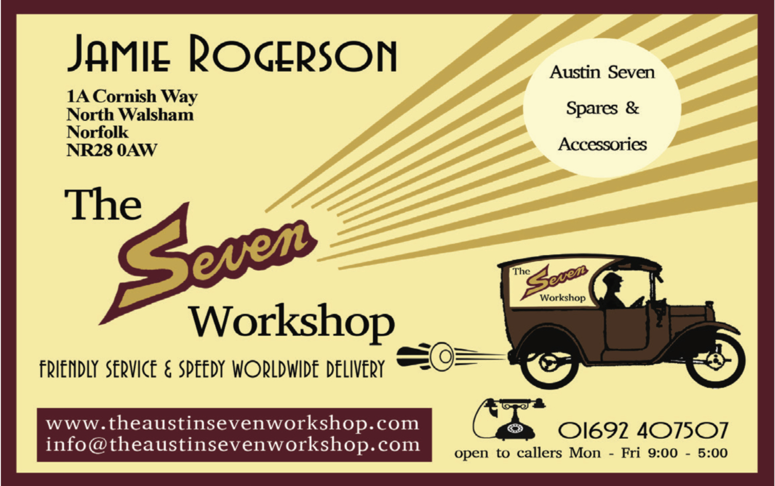The Seven Workshop Jamie Rogerson  - Austin 7 parts and service and repairs