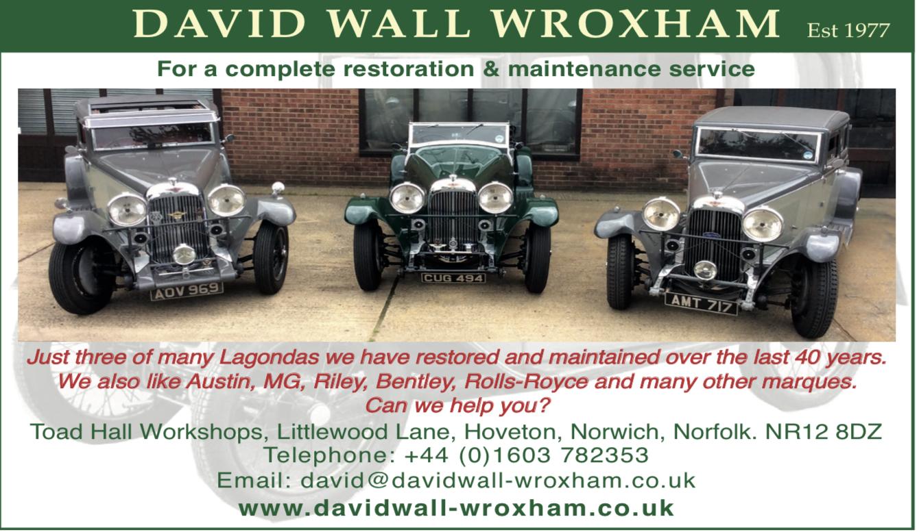 David Wall Wroxham  - Vintage Car Restoration Maintence Lagonda, Bentley, Rolls-Royce, MG,