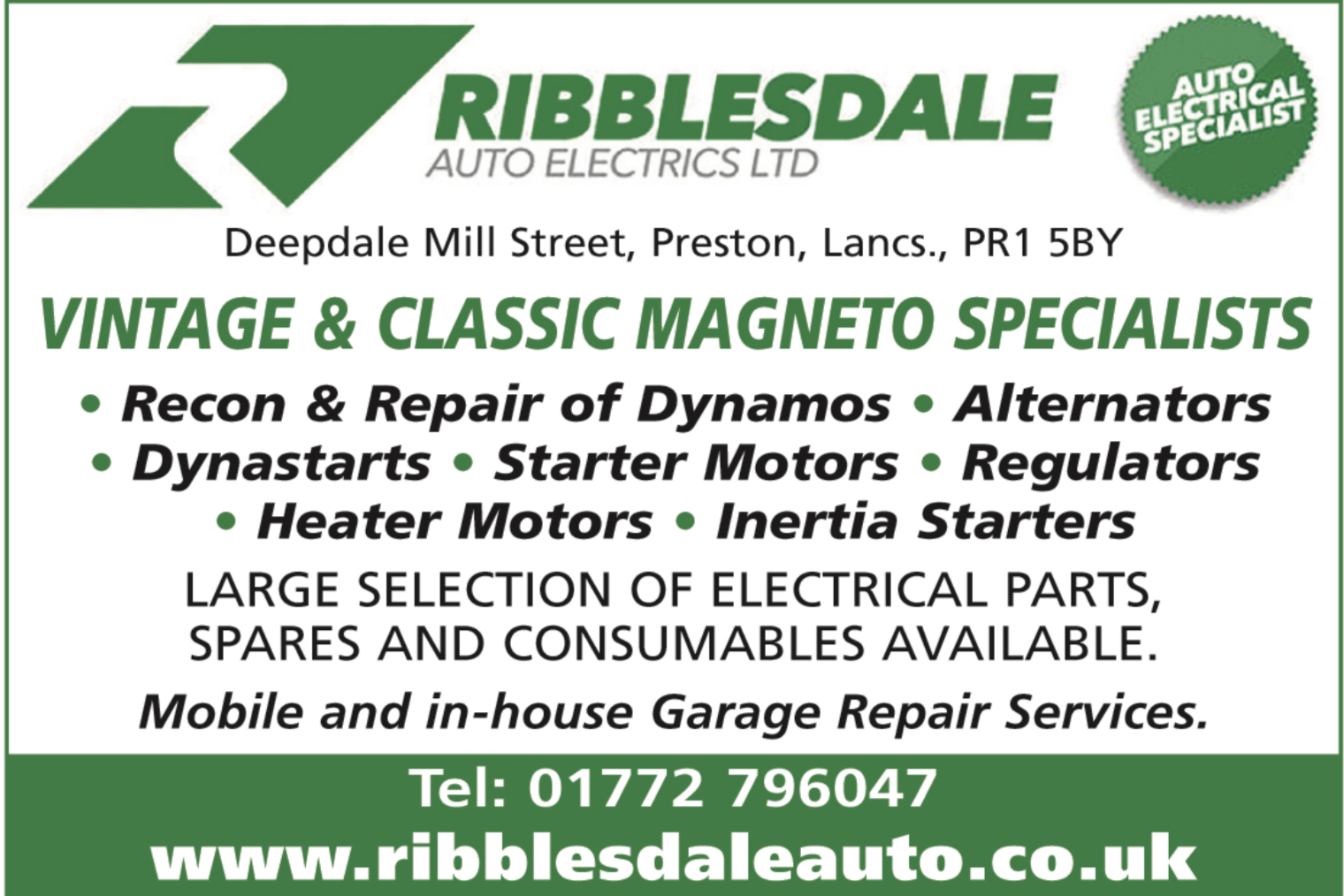 Ribblesdale Auto Electrics - Vintage & classic Magneto Specialists, recon and repair dynamos, alternators, heaters, starter motors,